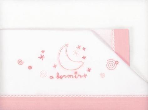 Pirulos A Dormir Juego de Sábanas 100% Algodón para Cochecito de 40x80 cm/Juego de Sábanas Set, Color Rosa