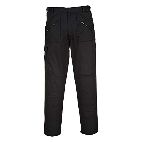 Portwest S887 Work Action - Pantaloni da lavoro con ginocchiere e tasche, taglio regolare, gamba 79 cm, colore: Nero