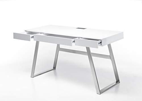 PEGANE Bureau Blanc Mat avec piètement Acier - L140 x H75 x P60 cm