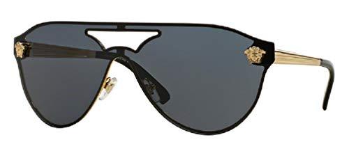 Versace VE2161 100287 42M Gold/Grey Aviator Sunglasses For Men For Women+FREE Complimentary Eyewear Care Kit