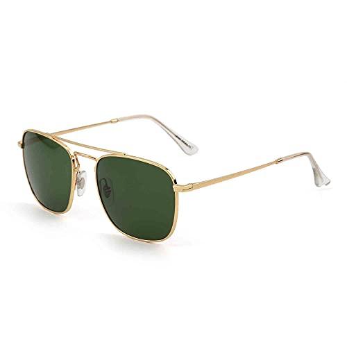 JIM HALO Gafas de Sol Retro Cuadradas Lente de Vidrio de Plano Metal Anteojos Hombre Mujer(Dorado/Verde)