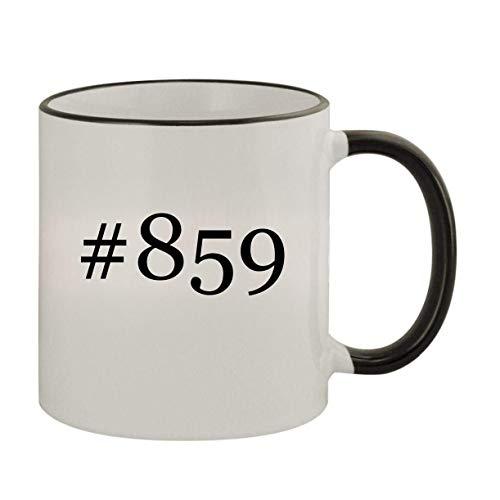 #859-11oz Ceramic Colored Rim & Handle Coffee Mug, Black