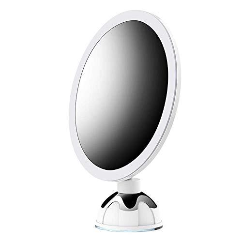 BECKY Kosmetikspiegel Beleuchtet mit LED Licht, 10X Vergrößerung und Starken Saugnäpfen, Wiederaufladbar, Schminkspiegel für Badzimmer, Kosmetikstudio, Spa und Hotel