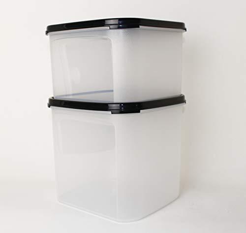 TW TUPPERWARE Eidgenosse quadratisch 4,0L + 2,6L Schwarz Vorratsbehälter + Mini Falt Sieb schwarz