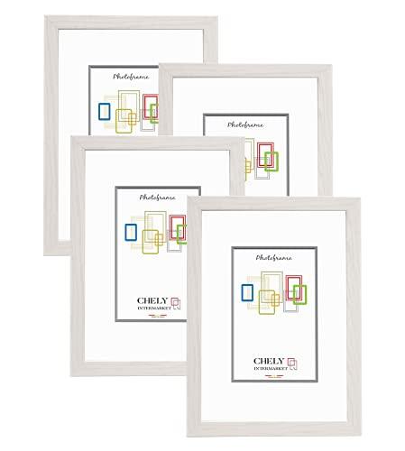 Chely Intermarket, Marco de Foto A4 (Blanco) MOD-254 (Pack 4 Unds) Hecho Madera, Ancho de Bastidor 1,20cm con Acabado Elegante | Marco para títulos y certificados.(254-A4*4-0,60)