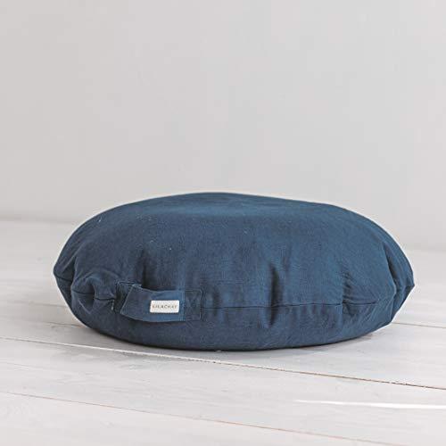 MINICAMP großes Bodenkissen - blaues Yogakissen - rundes Sitzkissen von Linen, baumwolle, blau, LARGE 28x8x28 in