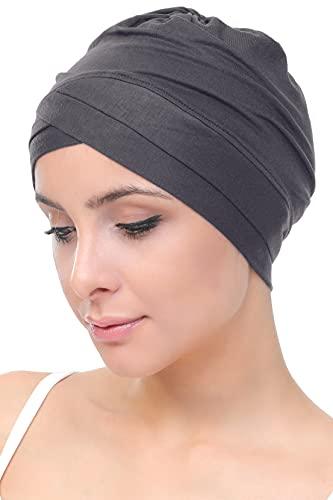 Deresina - Gorro para mujer, de bambú, diseño cruzado en la parte frontal, para quimioterapia, cáncer, pérdida de cabello