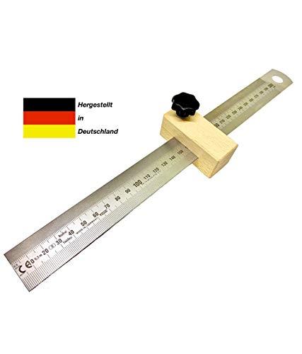 Holzfritze Streichmaß mit Anschlag aus Holz, Anreisslineal (Anschlaglineal) 300 mm