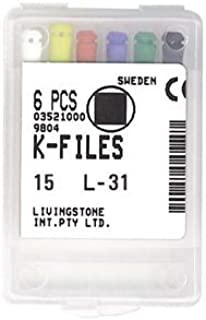 LIVINGSTONE K-FILES 31MM NO. 15 STAINLESS STEEL CC 6/PACK