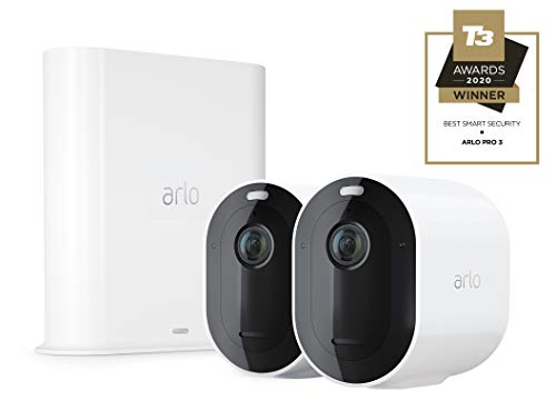 Arlo Pro3 Smart Home Security CCTV Camera System | Wireless Wi-Fi, Alarm, Rechargeable, Colour Night Vision, Indoor or Outdoor, 2K QHD, 2-Way Audio, Spotlight, 2 Camera Kit, VMS4240P