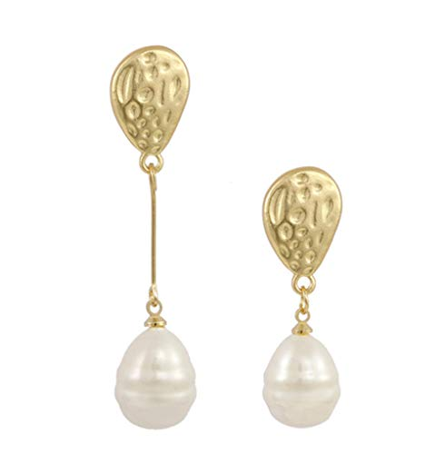 MXHJD Asymmetric Irregular Pearl Long Drop Earrings Elegant Hanging Earrings for Women Chic Wedding Bridal Jewelry