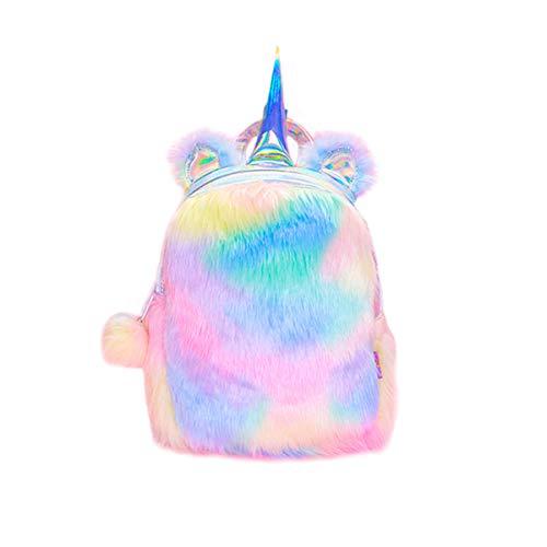 Unicorn Backpack Girls Schoolbag Plush Cute Soft Rainbow Bookbag Mini Unicorn Kids Toddler Student Travel (Rainbow)