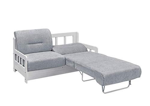 lifestyle4living Schlafsofa in Grau/Weiß zum Ausziehen - 2 Liegeflächen | Microfaser/Massivholz/Federkern | Gemütliches Sofa mit Schlaffunktion im Landhaus-Stil