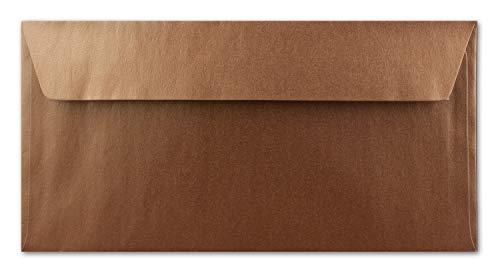 50 Kupfer-Metallic Brief-Umschläge DIN Lang - 11 x 22 cm - Haftklebung - glänzende Kuverts für große Einladungen und Karten, Hochzeit & Weihnachten