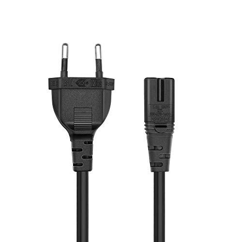 BERLS 5Ft(1.5m) 2 Prong Pole AC Power Cable d'alimentation 2 Broches C7 Cordon d'alimentation pour TV, PC, PS, Xbox, Ordinateur de Bureau et de consoles au secteur, Noir