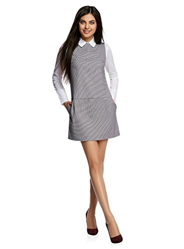 oodji Ultra Damen Basic Kleid mit Niedriger Taiile, Grau, DE 36 / EU 38 / S
