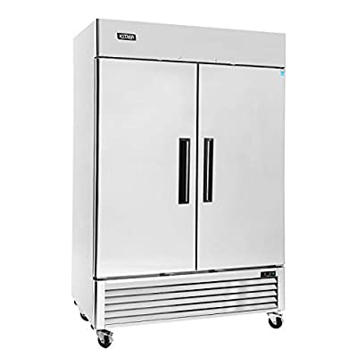 Commercial 2 Door Upright Freezer - KITMA Stainless Steel Side by Side Bottom Fridge with Shelves for Restaurant, Bar, 0°F - 8°F, Only Ship to CA