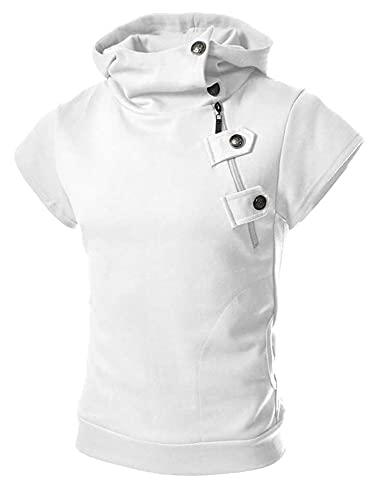 Deportiva Camisa Hombre Moderna Sencillez Moda Tendencia Cremallera Hombre Shirt Verano Básico Color Sólido Botón Placket Hombre Manga Corta Aire Libre Jogging Sudadera Capucha F-White XL