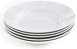 5枚セット!【ホワイト】強化磁器 シンプルスタイル こぶりで使いやすいサイズ しろい食器 スープ皿 パスタ皿 白い食器