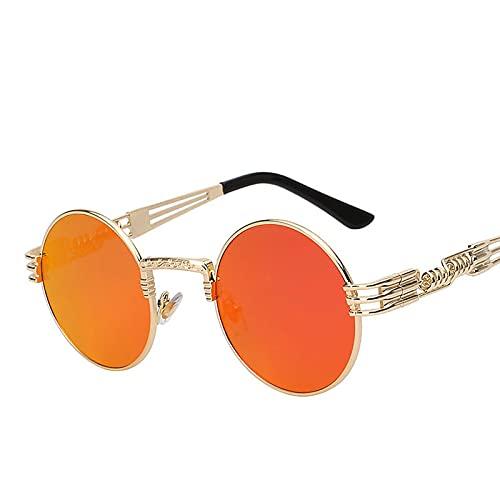 ShSnnwrl Único Gafas de Sol Sunglasses Gafas De Sol Steampunk De Aleación De Verano para Mujer/Hombre, Gafas De Sol Redondas De