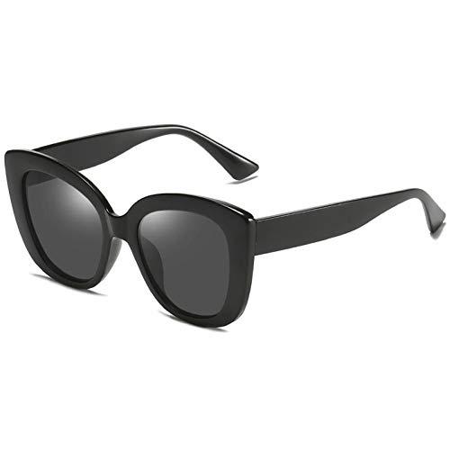 SHENY Occhiali da Sole da Donna Occhiali da Sole Polarizzati retrò Cat Eye Occhiali da Sole Vintage Oversize per Occhiali da Sole Uv400 tonalità per Donna Nero-Nero