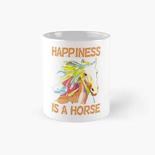 Taza clásica de la felicidad de caballo | El mejor regalo divertidas tazas de café de 325 ml