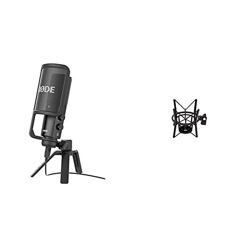 Rode NT-USB Microphone Noir & PSM1 Suspension Antichoc pour Microphone