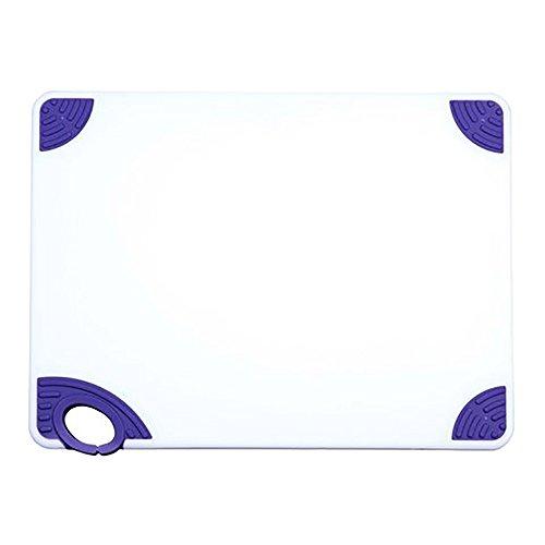 Winco CBN-1520PP 15x20x12 Rectangular Cutting Board with Purple Rubber Grip Hook Plastic Chopping Board Purple