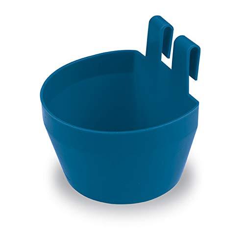 Gaun 62252 Comedero Plastico con Ganchos, Azul, 9.5 cm x 8 cm x 9 cm