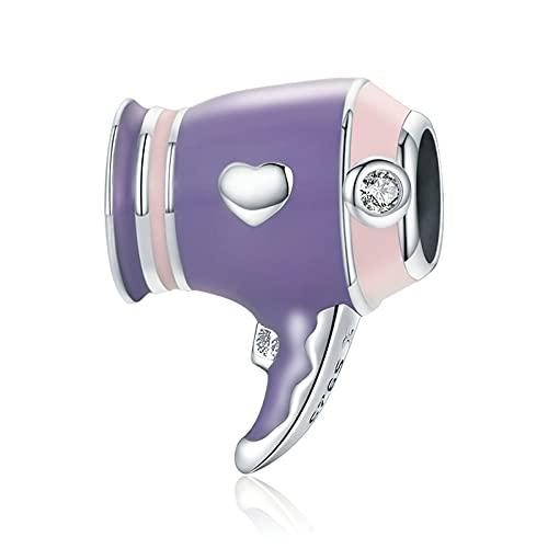 HMMJ Mini secador de Pelo Morado con abalorio Colgante de Plata esterlina S925 para Mujer Compatible con Todas Las Pulseras y Collares de Estilo Europeo SCC1865