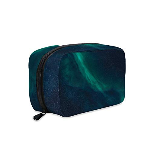 Polar Lights Night Sky Stars Makeup Bag Zipper Pouch Travel Toiletry Bag Cosmetic Accessories Organizer Purse Large Portable for Women Girls