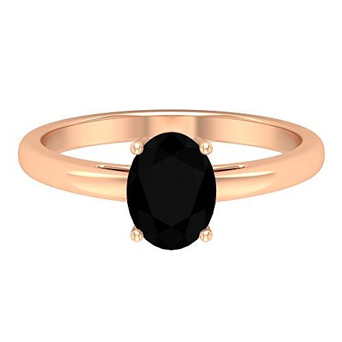 Rosec Jewels - Anillo solitario de diamante negro de 2 CT creado en laboratorio, 8 x 6 mm, corte ovalado, diamante negro, 14K Oro rosa, Size:EU 57