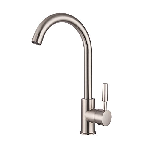 Bar Sink Faucet - Lordear Bar Sink Faucet 360 Degree Single Handle Kitchen Sink Faucet Stainless Steel Brushed Nickel Small RV Faucet, Hot and Cold Single Lever Kitchen Faucets