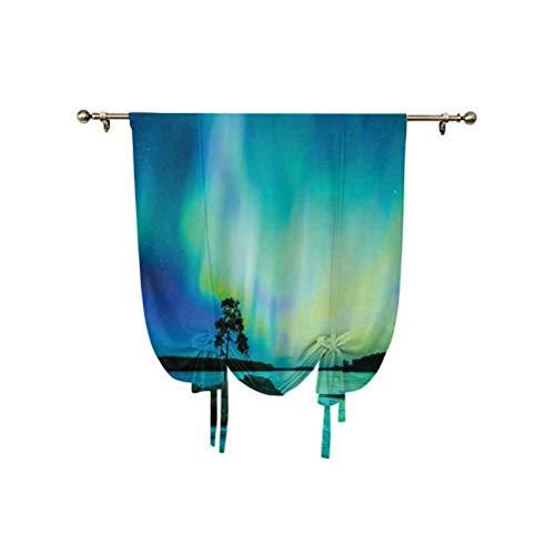 Northern - Cortina para ventana pequeña, diseño de árbol sobre piedra por River Borealis Earth Beauty Image térmica, 92 x 117 cm, para decoración del hogar, color azul y verde lima