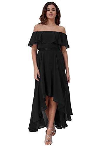 Clothfun Women's Off Shoulder Long Bridesmaid Dresses with Ruffles Chiffon Simple Formal Dresses for Party Black