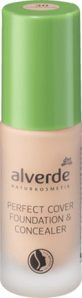 alverde NATURKOSMETIK Perfect Cover Foundation & Concealer Champagne 30, 20 ml, vegan