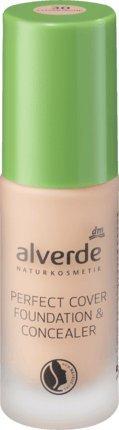 alverde NATURKOSMETIK Perfect Cover Foundation & Concealer Champagne 30, 20 ml, vegan