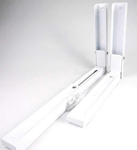 Sanfor Soporte Pared Universal para Microondas, Extensible con 2 Brazos, Escuadras Plegables, Blanco, Ajustable 30.5 y 45 cm, Colgar electrodomésticos