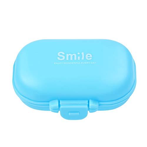 BESTOMZ Portapillole Pillole Contenitore Porta Pastiglie Pillole Organizzatore 4 Scomparti (Blu)