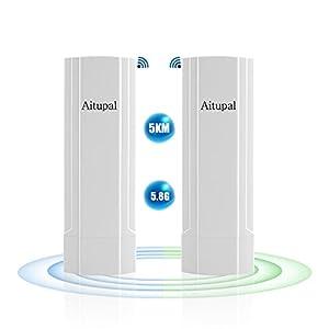 Aitupal Long Range WiFi Bridge 11ac Outdoor Access Point to Point Wireless Bridge High Speeds 5.8G 867Mbps Support 48V…