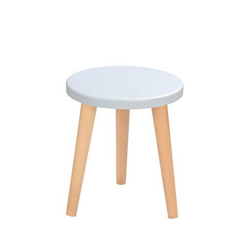 BIM Furniture Schemel Crystal White K MoonWood - Taburete de madera de roble natural (34 x 30 cm), color blanco, azul y rosa