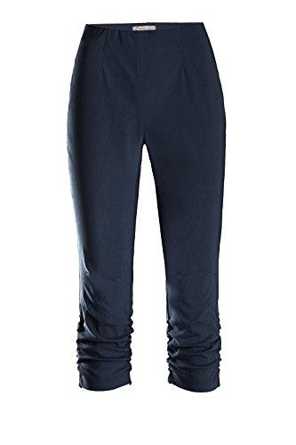 Stehmann Hose - Stretchhose Maria 530 Caprihose -viele Farben-mit EXTRA-Fashion Armreif- eng Pull-On Hose mit Raffung am Bein, Hosengröße:40, Farbe:Blau - Marine