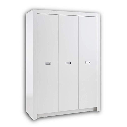 ALASKA Eleganter Jugendzimmer Kleiderschrank 3-türig - Vielseitiger Drehtürenschrank mit viel Stauraum in weiß - 137 x 195 x 56 cm (B/H/T)