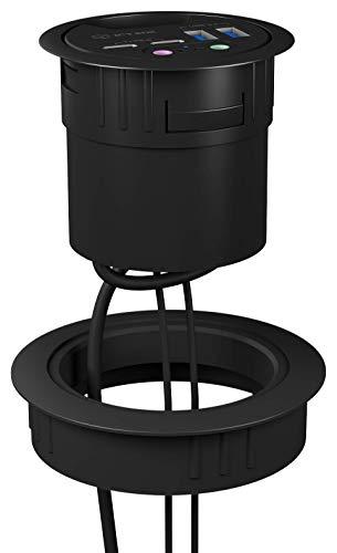ICY BOX 80 mm Einbauring Adapter passend für USB Tisch Hubs, Zubehör, Kunststoff, schwarz