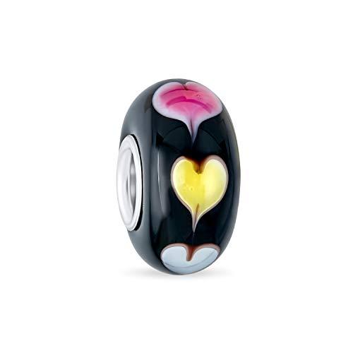 Negro rojo amarillo Murano vidrio .925 plata esterlina núcleo espaciador corazones encanto para las mujeres para adolescente se adapta a la pulsera europea