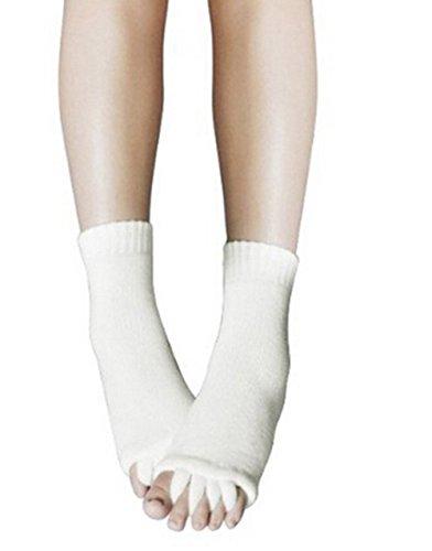 Natural Home Damen Zehenspreizer Wellness Socken Zehentrenner Pediküre Fuß Massage Socken (Weiß)