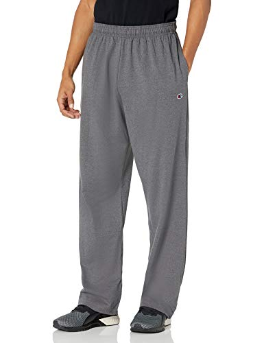 Champion Men's Open Bottom Lightweight Jersey Pant, Granite Heather, 4X-Large