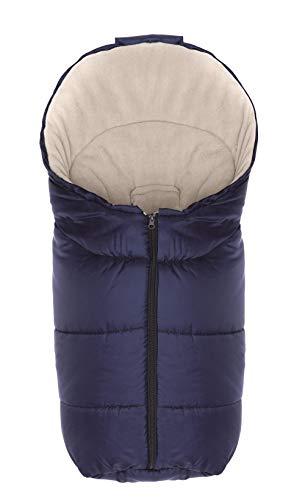Fillikid Winterfußsack Eco Exclusiv/Fußsack Universal für Babyschale, Autositz/Fußsack für Kinderwagen, Buggy oder Babybett, Design:marine