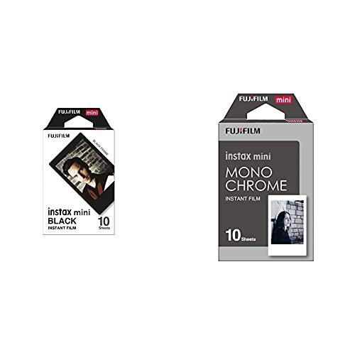 Fujifilm Instax mini Black -  Película instantánea + Fujifilm Instax mini Monochrome -  Película Instantánea