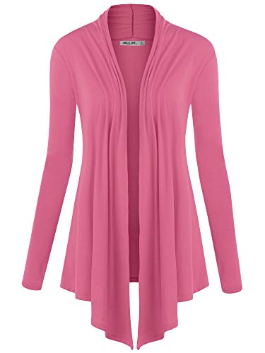 WSK850 Womens Draped Open- Front Cardigan XXL Pink